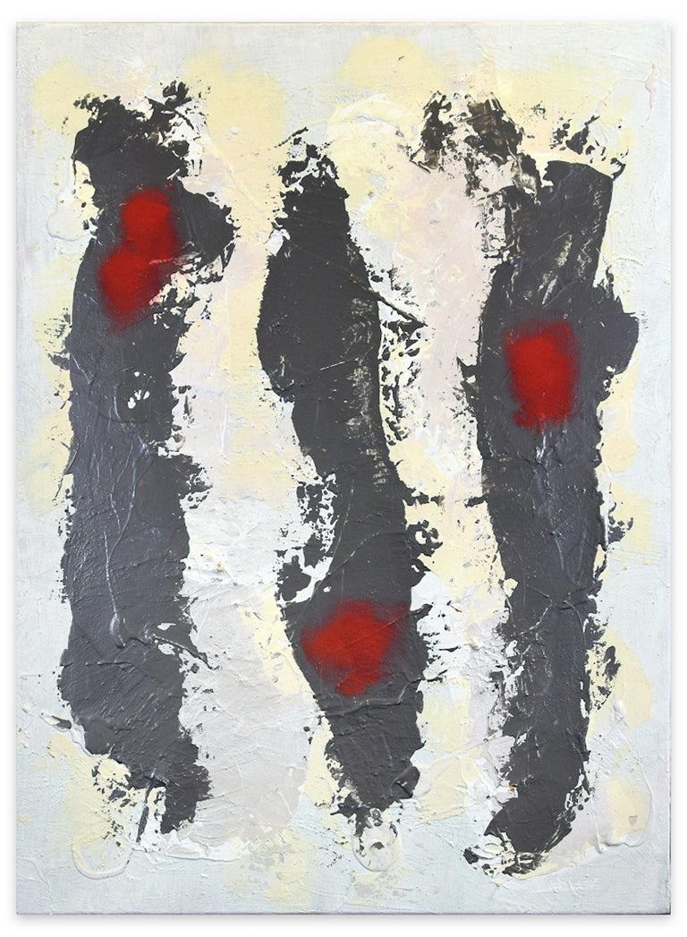 Trace is an original mixed media painting on panel realized by the Italian artist Marco Amici in 1980.  Original Title: Traccia  Title, Signature, date and monograms are written by the artist in black marker on the back of the canvas.   This
