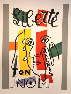 Liberté, j'écris ton nom - Original Lithograph by F. Léger - 1950s