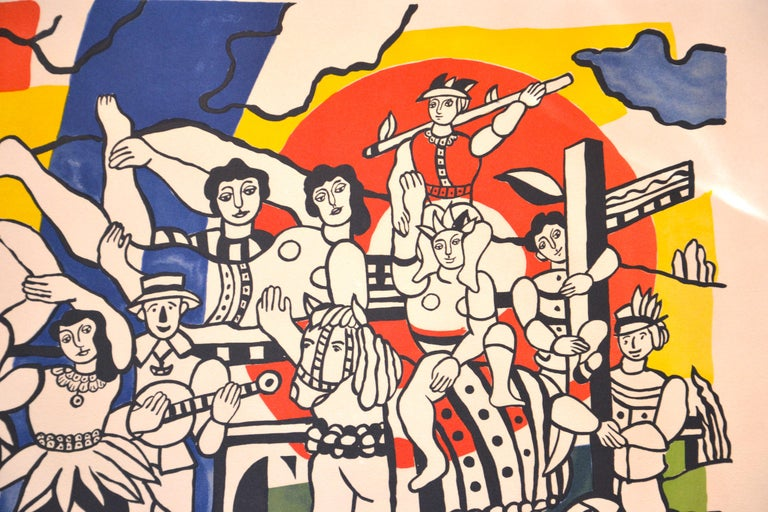 La Grande Parade is an original colored lithograph and stencil on Arches vellum realized by Fernand Léger.  Signed on the plate and countersigned by Nadia Léger (wife of the artist).  Horse commerce print (H.C. is handwritten on the lower-left