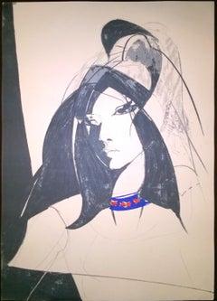 Woman's Figure - Original Lithograph by Sandro Trotti - 1980