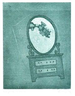 Mirror Childhood - Original Lithograph by Enrico Benaglia - 1970s