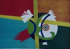 Green Abstract - Original Lithograph by G. Raimondi - 1970s