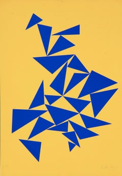 Triangles on Yellow - Original Screen Print by Lia Drei - 1970 ca.