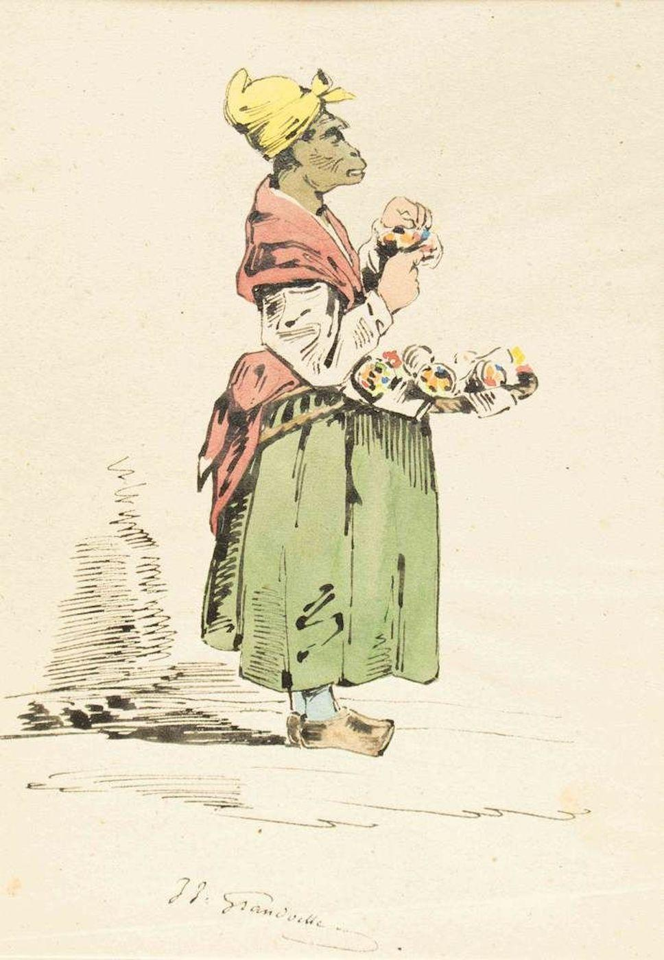 The Pedder - Original Ink Drawing and Watercolor by J.J. Grandville