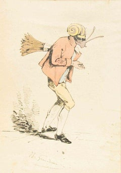 The Sweeper - Original Ink Drawing and Watercolor by J.J. Grandville