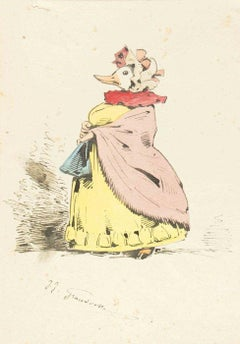 The Peeress - Original Ink Drawing and Watercolor by J.J. Grandville