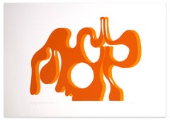 Orange Dripping - Original Screen Print by A. Knipschild - 1969