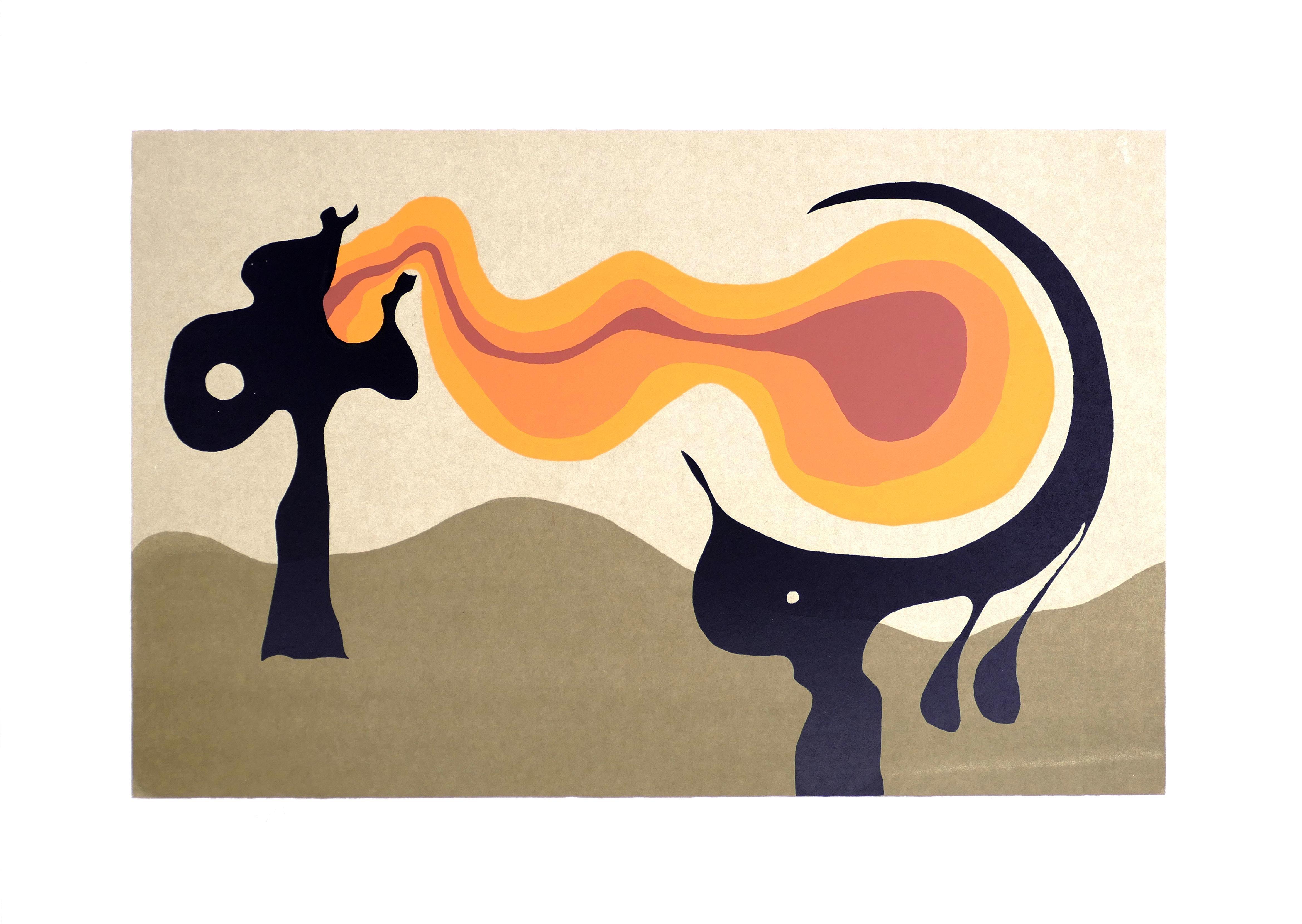 Fire Tongue - Original Screen Print by A. Knipschild - 1969