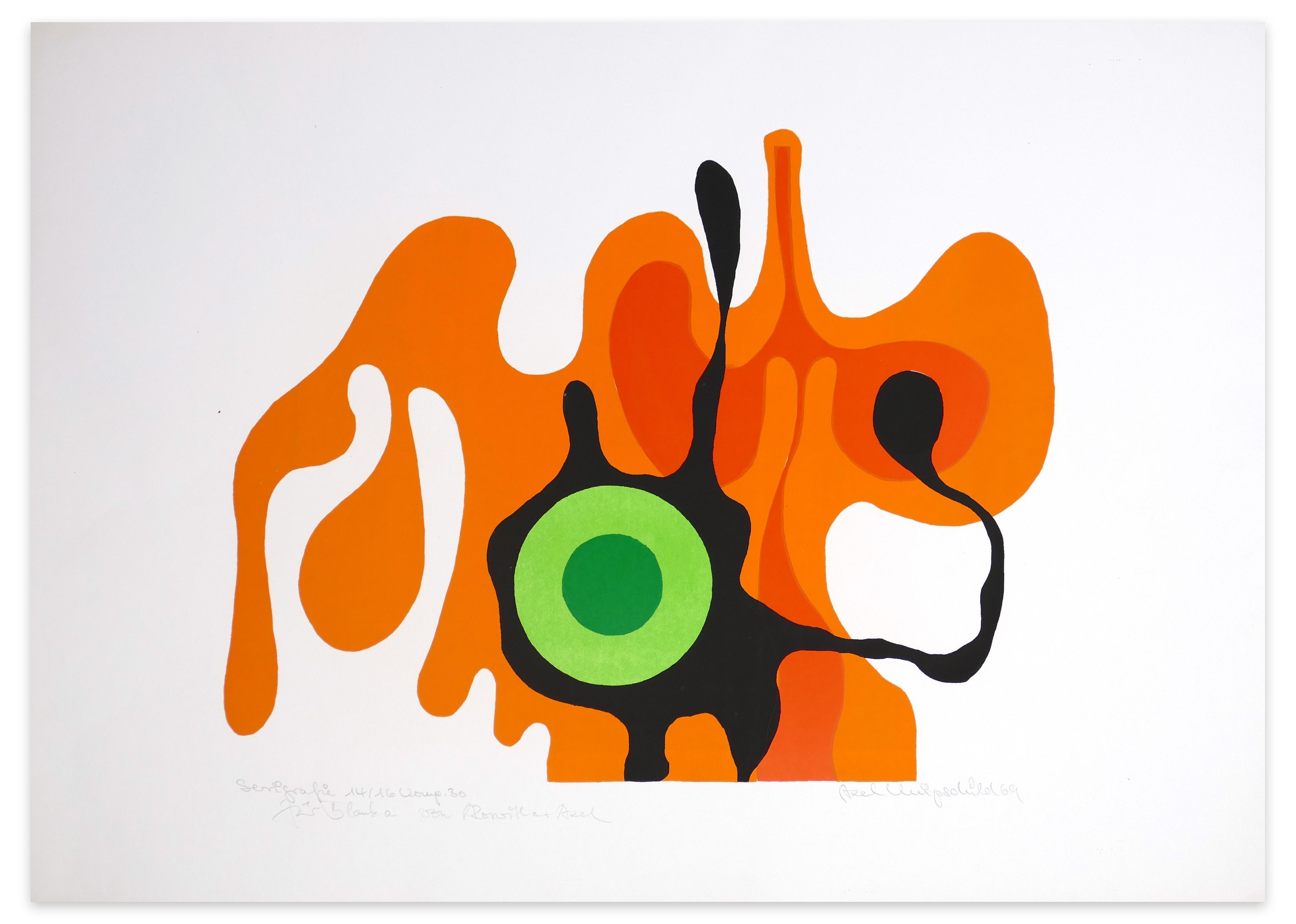 Green Eye - Original Screen Print by A. Knipschild - 1969