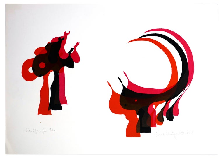 Axel Knipschild Abstract Print - With the Scythe - Original Screen Print by A. Knipschild - 1968