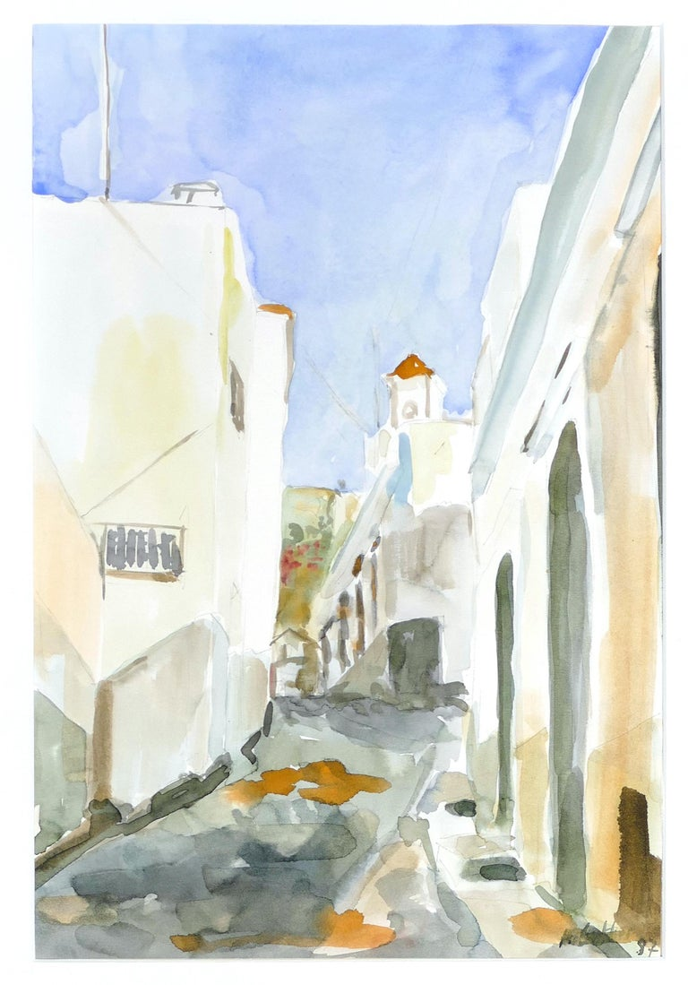 A Summer Road is an original colored watercolor realized in 1997 by Armin Guther.  Good conditions. Includes passepartout (50 x 60 cm).  The artwork is hand-signed and dated on the lower right corner.   This beautiful watercolor represents a glimpse