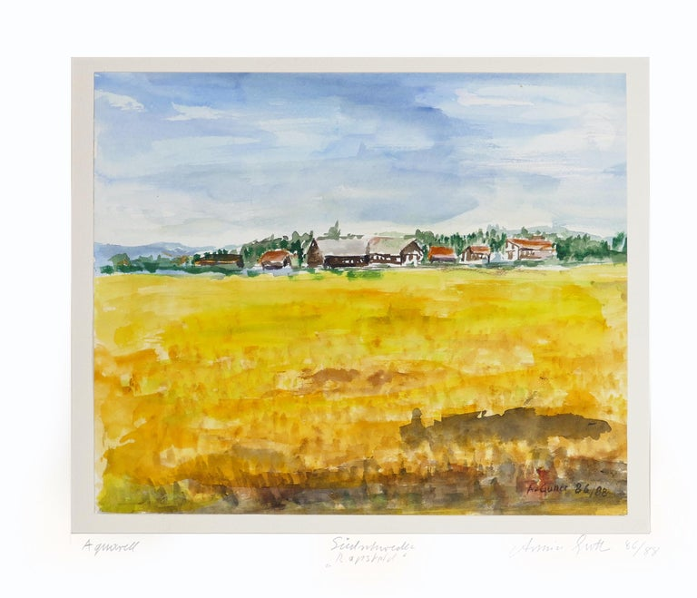 Wheat Field is an original colored watercolor realized between 1986 and 1988 by Armin Guther.  Good conditions. Includes passepartout (50 x 60 cm).  The artwork is hand-signed and dated on the lower right corner.   Title on the lower center.