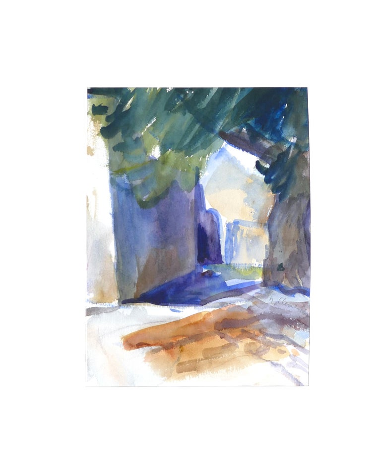 Shadow and Tree is an original watercolor on paper, realized between 1986 and 1988 by Armin Guther.  Very good condition. Including Passepartout (cm 50 x 60)  The artwork is hand-signed and dated on the lower right corner.   This beautiful