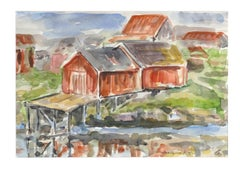 Wooden Huts - Original Watercolor by Armin Guther - 1986