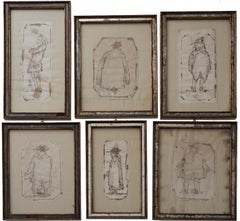 Venetian Costumes - Original Ink Drawing by Italian Master 18th Century