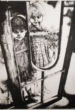 Children - Original Lithograph by G. De Stefano - 1970 ca.