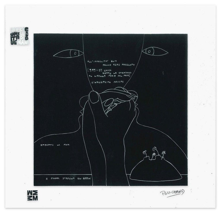 Ennio Pouchard Abstract Print - Gli Occhi  - Screen Print on Acetate by E. Pouchard - 1973