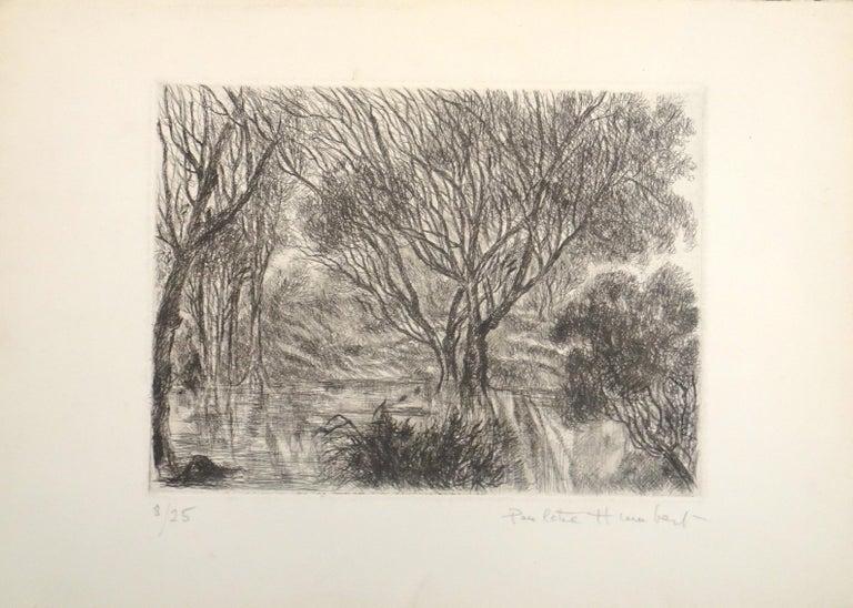 Paulette Humbert Landscape Print - Allé sous bois - Original Etching and Drypoint on Paper - 1980s