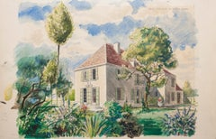 Homes - Original Watercolor on Paper by Emile Deschler - 1970s