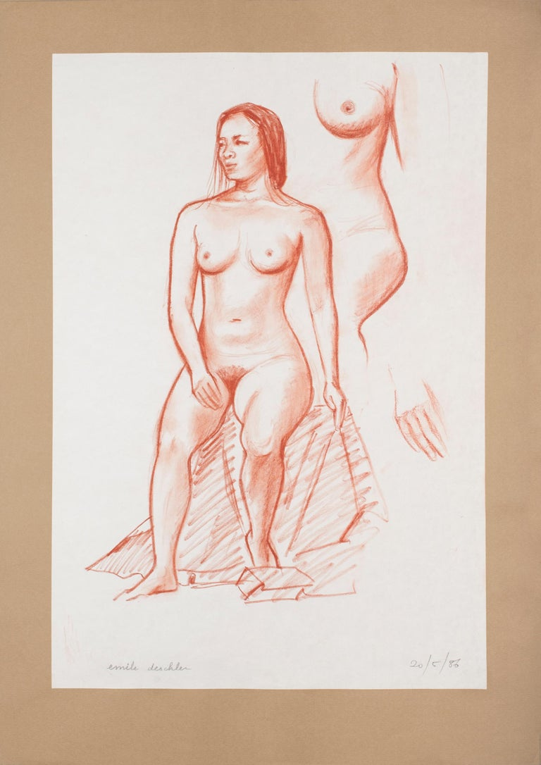 Image dimensions: 49 x 32.5 cm.  Nude is an original artwork realized by Emile Deschler in 1986.  Pastel on paper glued on cardboard. Hand-signed in pencil by the artist on the lower left; dated in pencil on the lower right.  Perfect