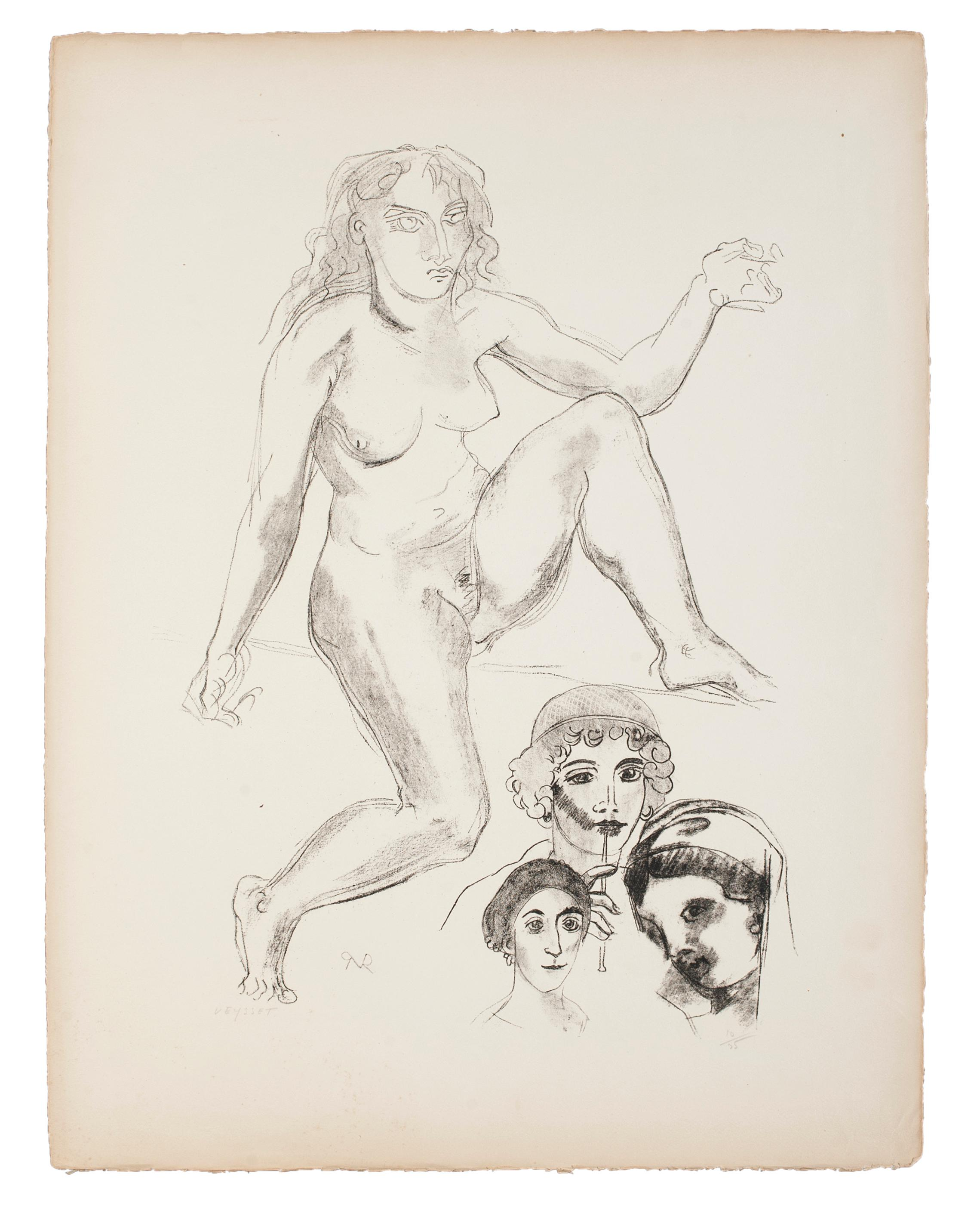 Standing Female Nude with Portraits  - Original Lithograph by Raymond Veysset