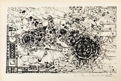 Vortex - Original Lithograph by Robert Tatin - 1963