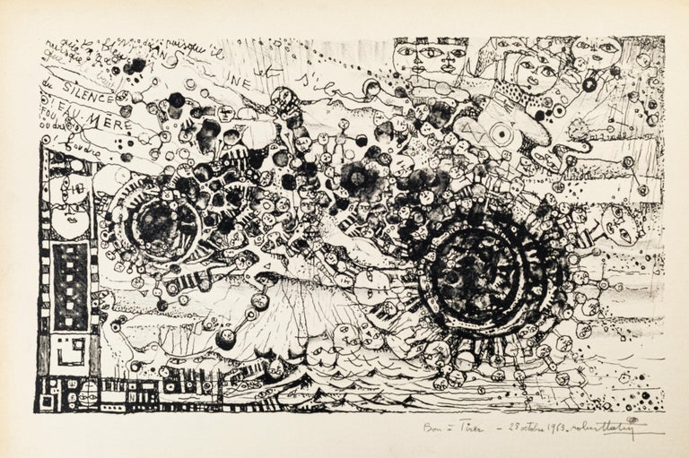 Image dimensions: 25 x 43 cm.  Vortex is an original black and white lithograph realized in 1963 by Robert Tatin (1902-1983).  Hand-signed and dated on the lower margin. Artist's proof (Bon à tirer handwritten on the lower margin)  The artwork
