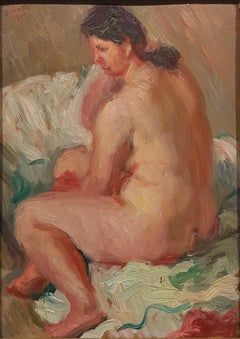 Nude of Woman - Oil on Board by Emilio Notte - Late 1941