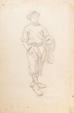 Walking Man - Original Drawing - Mid 20th Century