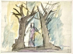 Forest in Color - Charcoal and Watercolor by M. Maccari - 1950/60s