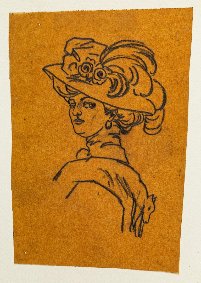 Portrait  - Original China Ink Drawing on Paper - Early 20th Century - Art by Marguerite Callet-Carcano