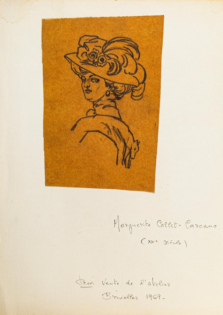 Portrait Of Woman is a black and white drawing realized in 1969 by Marguerite Callet-Carcano.  The artwork is dated 1969 (as reported on the lower part of passe-partout).  Provenance: Vente de l'atelier Bruxelles 1969  The drawing is glued on