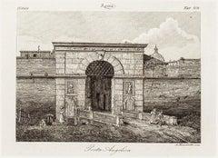 La Porta Angelica - Original Etching by Alessandro Moschetti - 1843