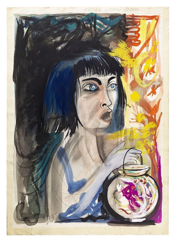 Woman With Fish - Original China Ink and Watercolor Drawing - 1980s