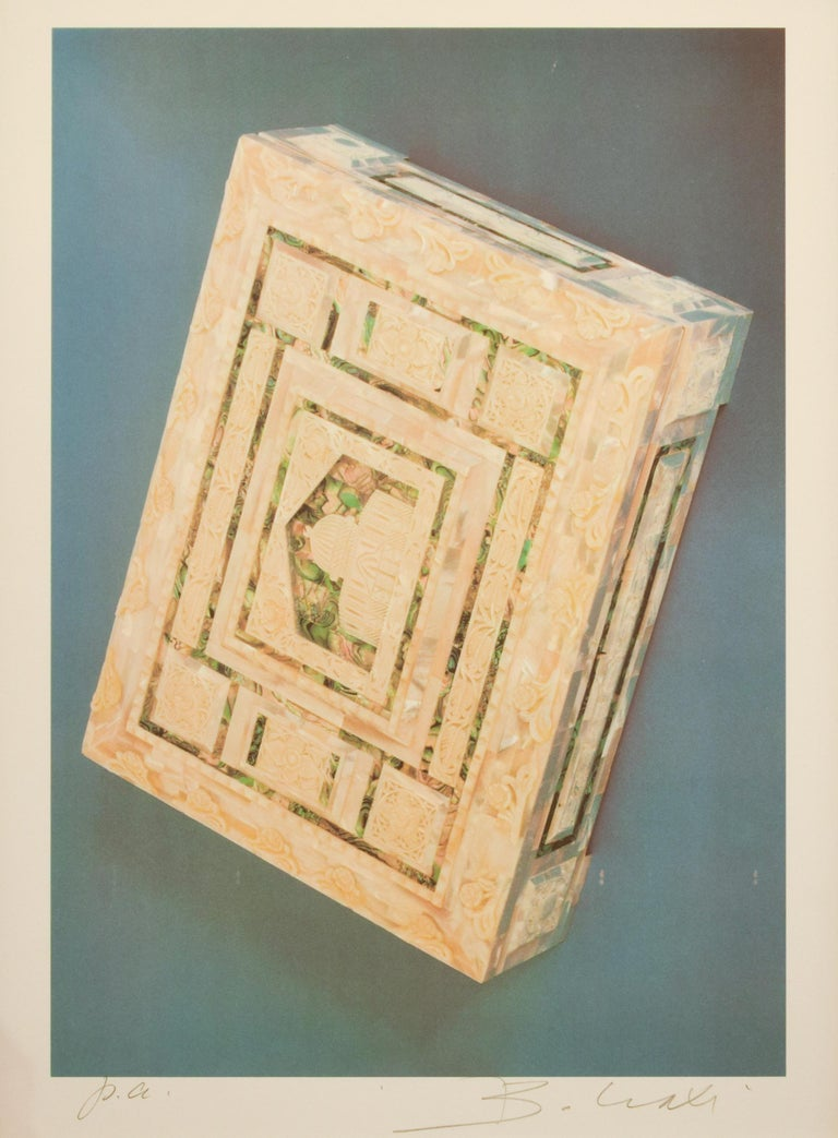 """Image dimensions: 38.4 x 26.6 cm.  Editions of 120 units and some Artist's proofs.  Published in the Portfolio """"Bettino Craxi 1989"""".  Signed and numbered in the bottom with pen, it includes a contemporary wooden frame.  Excellent conditions."""