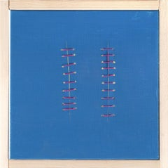 Red Seams on Blue - Original Acrylic Painting by Mario Bigetti - 2019