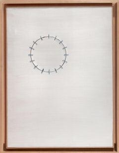 Seams on White - Original Acrylic Painting by Mario Bigetti - 2010s