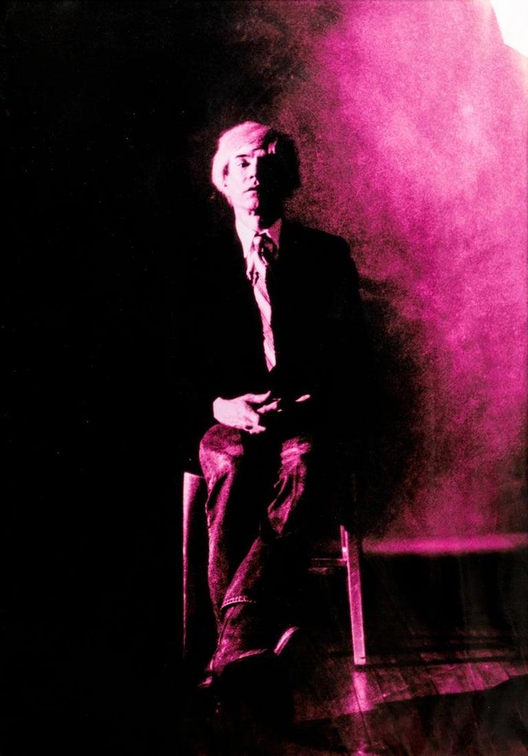 Gerald Bruneau Portrait Photograph - Portrait of Andy Warhol - Violet print-toning by G. Bruneau - 1980s