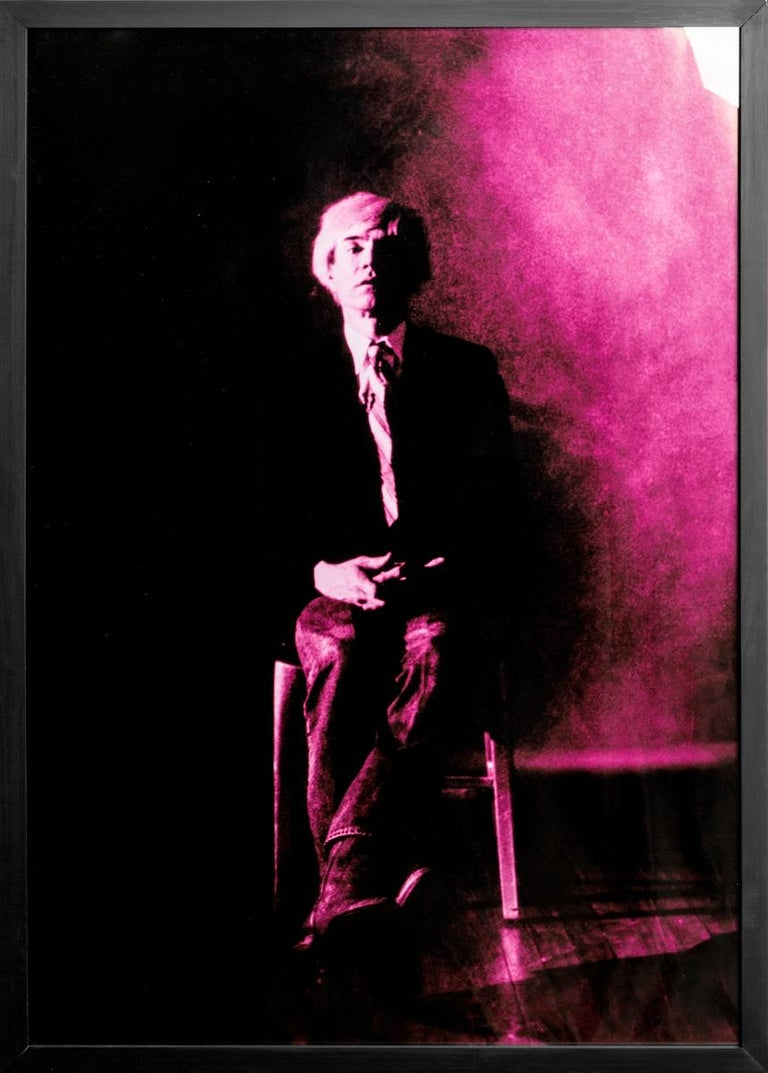 Portrait of Andy Warhol - Violet print-toning by G. Bruneau - 1980s - Photograph by Gerald Bruneau