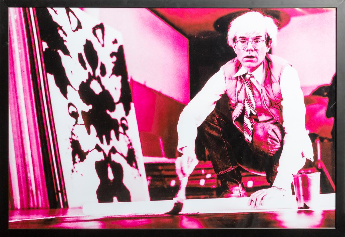 Portrait of Andy Warhol in his Studio-Violet print-toning by G. Bruneau - 1980s
