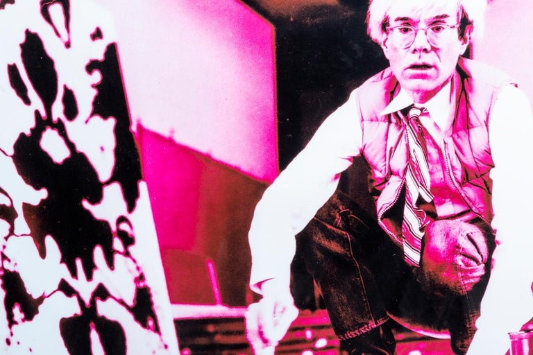 Portrait of Andy Warhol in his Studio-Violet print-toning by G. Bruneau - 1980s - Photograph by Gerald Bruneau
