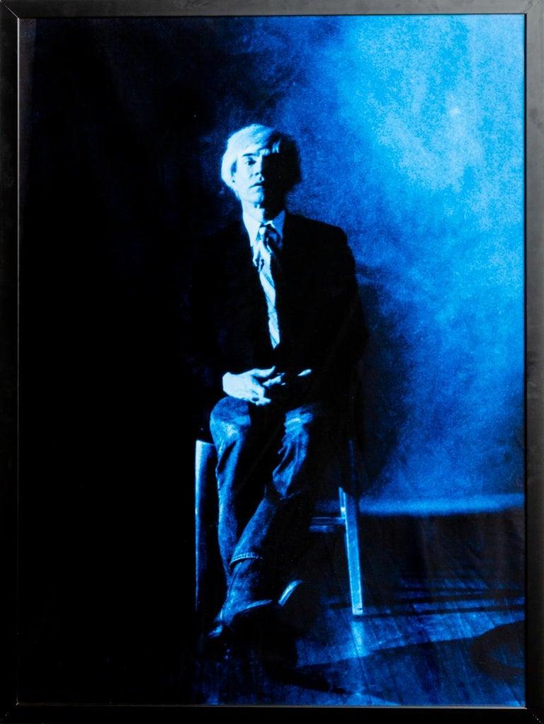 Gerald Bruneau Portrait Photograph - Portrait of Andy Warhol posing - Blue print-toning by G. Bruneau - 1980s