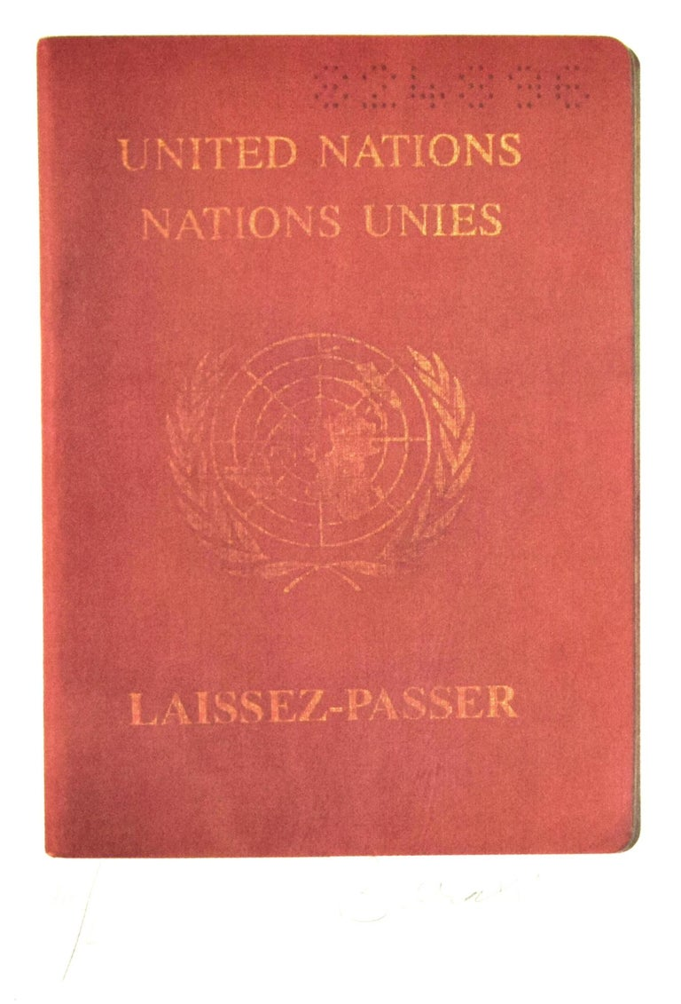 """Laissez - Passer is an original lithograph realized by Bettino Craxi in 1994.  The artwork is from the portfolio """"The World"""", Ed. Serigraph, 1994.  The artwork shows the ONU passport of Bettino Craxi.  Includes frame: 53 x 1.5 x 38 cm  Signed and"""