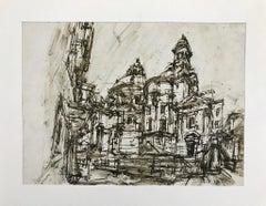 Urban Landscape - Original Ink on Paper by Emilio Vedova - 1970s