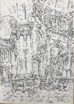 Interior of S. Marco, Venice - Original Charcoal Drawing by E. Vedova - 1970s
