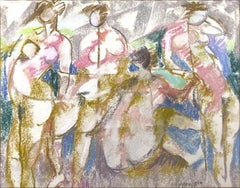 Bathers - Original Pencil and Pastel Drawing by F. Pirandello - 1960s