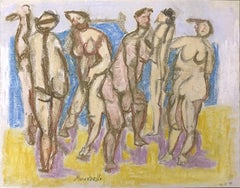 Bathers - Original Pencil and Pastel Drawing by F. Pirandello - 1971