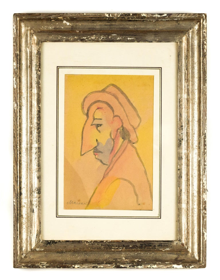 Portrait of a Man with Big Nose - Original Watercolor by M. Maccari - 1960s - Art by  Mino Maccari