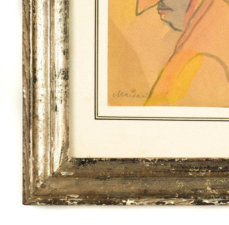 Portrait of a Man with Big Nose - Original Watercolor by M. Maccari - 1960s - Contemporary Art by  Mino Maccari