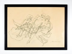 Official Entertainment - Charcoal Drawing by M. Maccari - 1950s